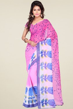 Ishin Light Pink Printed Saree With Blouse