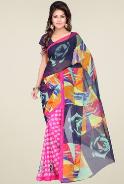 Ishin Printed Multicolor Saree With Blouse