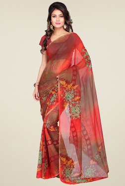 Ishin Red Floral Printed Saree With Blouse