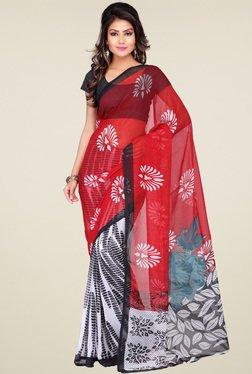 Ishin Red & Black & Red Printed Saree