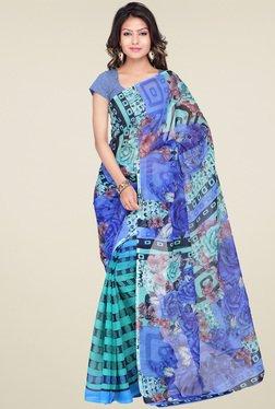 Ishin Blue Floral Printed Saree