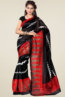 Ishin Black & Red Printed Art Silk Saree