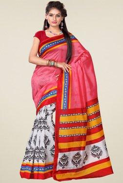 Ishin White & Pink Printed Art Silk Saree