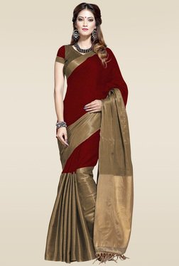 Ishin Maroon Zari Saree With Blouse