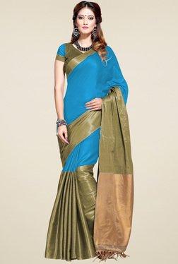 Ishin Blue Blended Woven Zari Border Saree