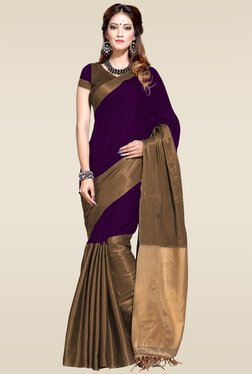 Ishin Purple Woven Zari Border Saree With Blouse