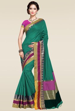 Ishin Green Woven Zari Border Saree With Blouse