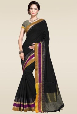 Ishin Black Woven Zari Border Saree With Blouse