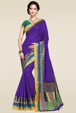 Ishin Royal Blue Woven Zari Border Saree With Blouse