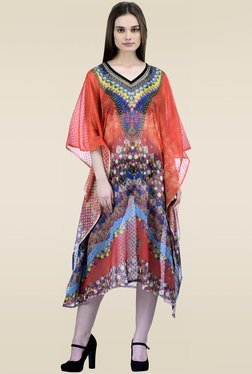 Ahalyaa Red Printed Kaftan