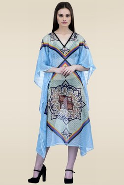 Ahalyaa Sky Blue 3/4th Sleeves Kaftan