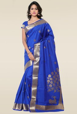 Janasya Royal Blue Art Silk Saree