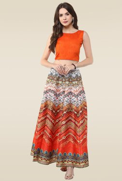 Janasya Multicolor Digital Printed Skirt With Crop Top