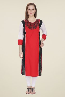 Agroha Red Embroidered Kurta