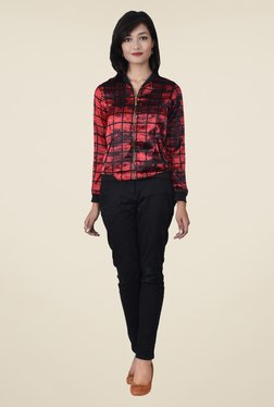 Juniper Red & Black Checks Bomber Jacket