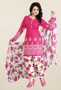 Fabfella Pink & White Polka Dot Dress Material