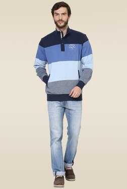 Octave Light Blue Color Block Sweatshirt
