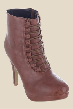 Shuz Touch Tan Stiletto Heeled Booties