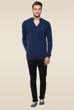 Mufti Blue Full Sleeves Sweater