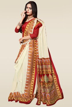 Saree Mall Cream Bhagalpuri Silk Saree With Blouse