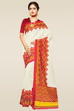 Saree Mall Cream Chevron Printed Saree With Blouse