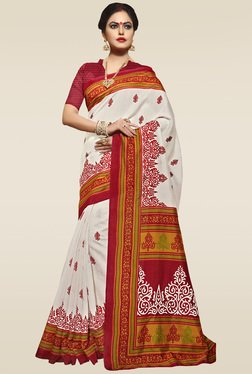 Saree Mall Off-White Bhagalpuri Silk Saree With Blouse