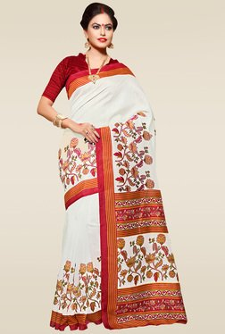 Saree Mall White Floral Printed Saree With Blouse