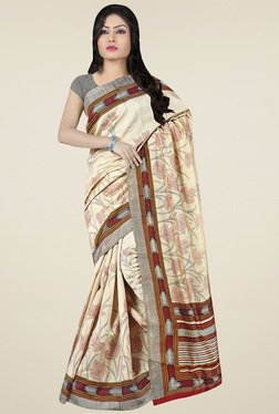 Saree Mall Beige Floral Printed Saree With Blouse