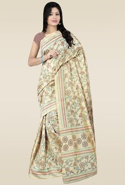 Saree Mall Beige Floral Printed Khadi Silk Saree With Blouse