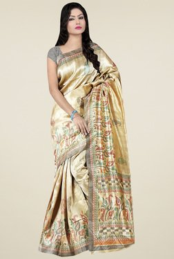 Saree Mall Beige Printed Khadi Silk Saree With Blouse