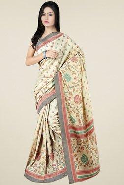 Saree Mall Beige Printed Khadi Silk Saree