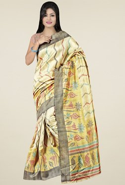 Saree Mall Beige Floral Printed Saree