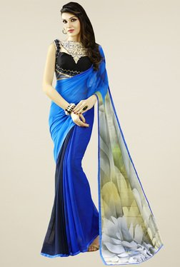 Saree Mall Dark Blue Floral Printed Saree With Blouse