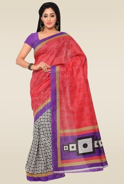 Saree Mall Off-White & Pink Printed Saree With Blouse