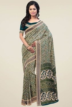 Saree Mall Green Pashmina Silk Saree With Blouse