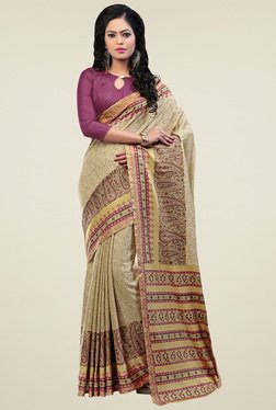 Saree Mall Beige Pashmina Silk Saree With Blouse