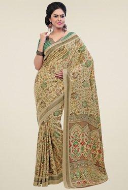 Saree Mall Beige Paisley Print Pashmina Silk Saree