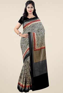 Saree Mall Black Patola Silk Saree With Blouse