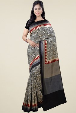Saree Mall Black Patola Silk Saree