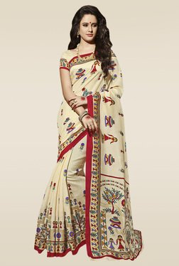 Saree Mall Beige Manipuri Silk Saree With Blouse