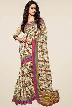 Saree Mall Beige Printed Saree With Blouse