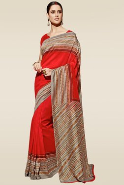 Saree Mall Red Printed Saree With Blouse