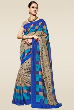 Saree Mall Beige & Blue Printed Saree