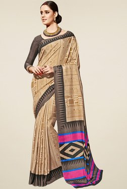 Saree Mall Beige Manipuri Silk Saree With Blouse - Mp000000000904195