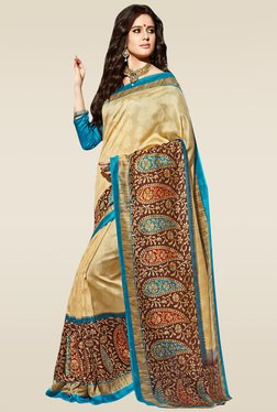 Saree Mall Beige Jacquard Printed Saree With Blouse
