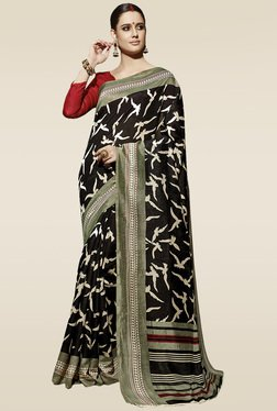 Saree Mall Black Bird Printed Saree With Blouse