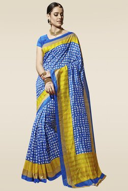 Saree Mall Blue Printed Saree With Blouse