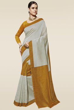 Saree Mall Mustard Printed Saree With Blouse