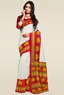 Saree Mall White Bhagalpuri Silk Saree With Blouse