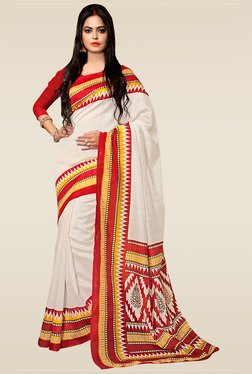 Saree Mall Off-White Printed Saree With Blouse